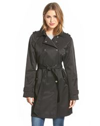 DKNY - Black Double Breasted Trench Coat - Lyst