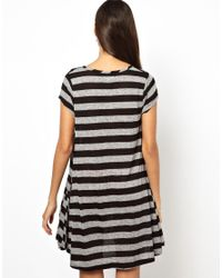 Glamorous - Black Swing Dress in Flecked Jersey Stripe - Lyst