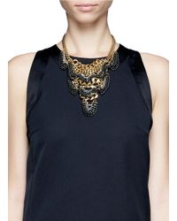 Ela Stone - Metallic Daisy Multi-layered Chain Plastron Necklace - Lyst