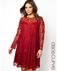 ASOS | Red Exclusive Swing Dress in Baroque Lace | Lyst
