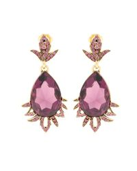 Oscar de la Renta - Pink Crystal-embellished Clip-on Earrings - Lyst