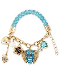 Betsey Johnson - Blue Gold-tone Crystal And Faceted Bead Charm Bracelet - Lyst