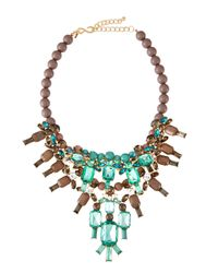 Kenneth Jay Lane | Green Beaded Crystal Bib Necklace | Lyst