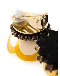 Shourouk - Yellow Flower Clip-on Earrings - Lyst