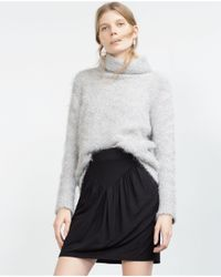 Zara | Black Mini Skirt With Shimmer Thread | Lyst