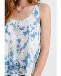 Forever 21 - Blue Diamond Print Tie-dye Top - Lyst