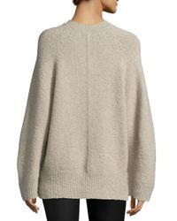 Adam Lippes - Brown V-neck Lantern-sleeve Cashmere-blend Sweater - Lyst