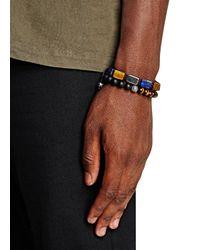 Nialaya - Blue Beaded Cord Bracelet for Men - Lyst