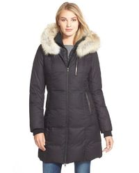 SOIA & KYO | Black 'Chrissy' Print Down Parka With Genuine Leather & Coyote Fur Trim | Lyst