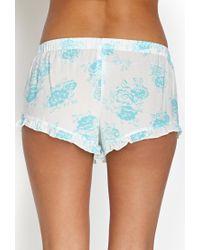 Forever 21 - Blue Ruffled Rose Pj Shorts - Lyst
