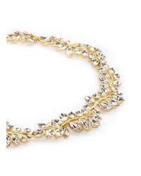 Kenneth Jay Lane - Metallic Crystal Leaf Necklace - Lyst