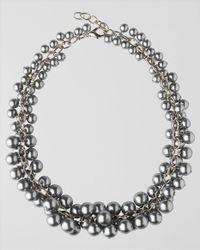 Jaeger - Metallic Pearl Cluster Collar Necklace - Lyst