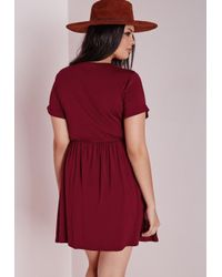 Missguided - Purple Plus Size Jersey T-shirt Skater Dress Burgundy - Lyst