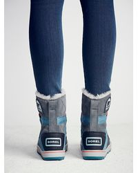 Free People - Blue Sorel Womens Glacy Explorer Weather Boot - Lyst