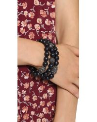 Hipchik Couture | Wood Bead Bracelet Set Black | Lyst