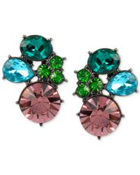Betsey Johnson | Green Hematite-tone Crystal Cluster Stud Earrings | Lyst