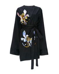 Cynthia Rowley - Black Embellished Cotton Sateen Kimono Dress - Lyst