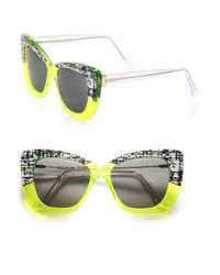 Cutler & Gross - Yellow 53mm Print & Neon Cat's-eye Sunglasses - Lyst