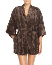 Natori | Brown Faux Fur Robe | Lyst