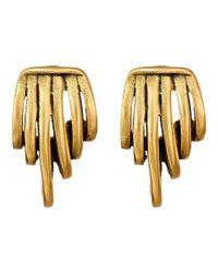 Oscar de la Renta | Metallic Curled Metal Button Earrings | Lyst