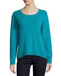 Neiman Marcus | Blue Cashmere Modern Crewneck Sweater | Lyst
