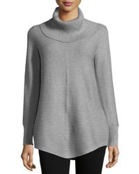 Neiman Marcus | Gray Cowl-neck Ribbed Sweater | Lyst