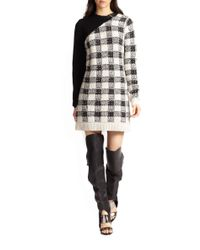 3.1 Phillip Lim - Black Wool Cashmereblend Colorblock Plaid Sweater Dress - Lyst