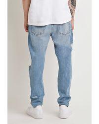 Forever 21 | Blue Destroyed Straight-leg Jeans for Men | Lyst