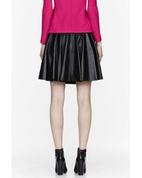 Hussein Chalayan Black Leather Pleated Skirt