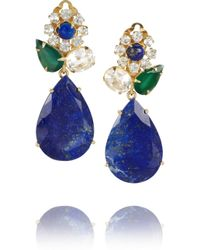 Bounkit | Blue Gold Plated Onyx Quartz and Lapis Lazuli Clip Earrings | Lyst