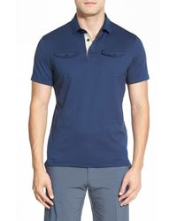 J.Lindeberg | Blue 'aldric' Trim Fit Jersey Polo for Men | Lyst