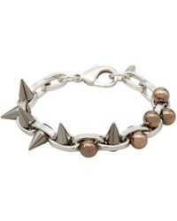 Joomi Lim | Metallic Small Silver Double Row Spheres And Spikes Bracelet | Lyst