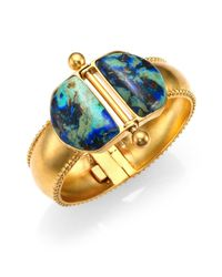 A Peace Treaty | Blue Loki Azurite Malachite Double Dome Hinged Bracelet | Lyst