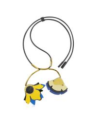 Marni | Multicolor Maize Double Flower Leather Pendant Necklace | Lyst