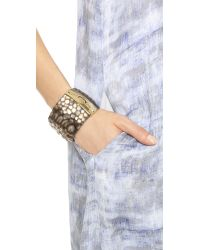 Alexis Bittar - Metallic Crocodile Textured Liquid Hinge Bracelet Silver Crocodile - Lyst