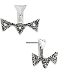 House of Harlow 1960 | Metallic Silver-tone Pavé Triangle Ear Jackets | Lyst