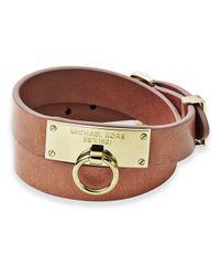 Michael Kors | Brown Leather Wrap Bracelet | Lyst