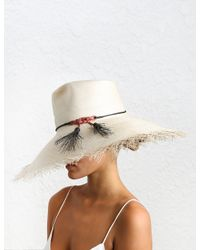 Zimmermann - White Frayed Edge Wide Brim Sun Hat - Lyst