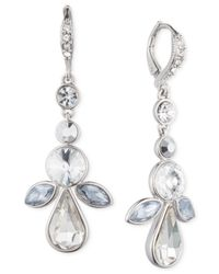 Givenchy | Metallic Silver-tone Multi-crystal Drop Earrings | Lyst