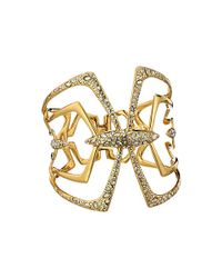Alexis Bittar | Metallic Kinetic Gold Large Encrusted Mirrored Hinge Bracelet | Lyst