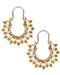 Lucky Brand | Metallic Gold-tone Filigree Small Hoop Earrings | Lyst