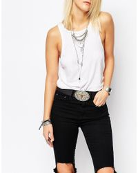 Retro Luxe London - Black Leather Western Belt With Contrast Bull Buckle - Lyst