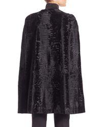 Saks Fifth Avenue - Black Broadtail Lamb Fur Cape - Lyst