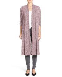 Bobeau | Pink Long Rib Knit Cardigan | Lyst