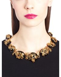 Oscar de la Renta | Metallic Resin Filigree Collar Necklace | Lyst