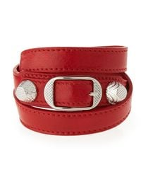 Balenciaga | Red Giant 12 Leather Wrap Bracelet | Lyst