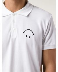 Moschino - White Embroidered Smiley Polo Shirt for Men - Lyst
