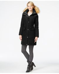 Marc New York | Black Faux-fur-hood Down Coat | Lyst
