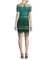 Pamella Roland - Green Short-sleeve Signature Ombre Sequin Dress - Lyst