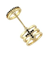 BCBGeneration | Metallic Jet Stone Stacking Ring | Lyst